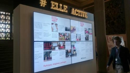 Quatre écrans affichent en live les tweets comportant le #ElleActive2016