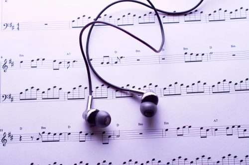 Sheet music and headphones.